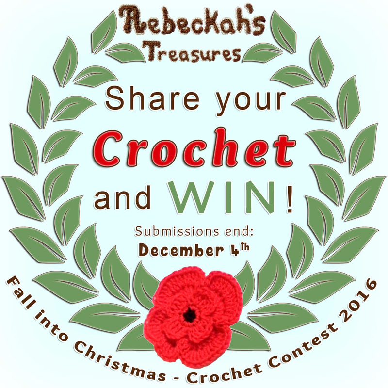 CROCHET-SHARE-WIN : Submit your favourite #crochet projects to a brand new Fall into Christmas #contest hosted by @beckastreasures featuring 26 prize sponsors! | SUBMISSIONS close December 4th, 2016 | VOTING begins December 5th, 2016 | What are you waiting for? Submit your 3 favourite projects TODAY and #WIN!!! | Learn more here: https://goo.gl/zYdFsN #fallintochristmas2016