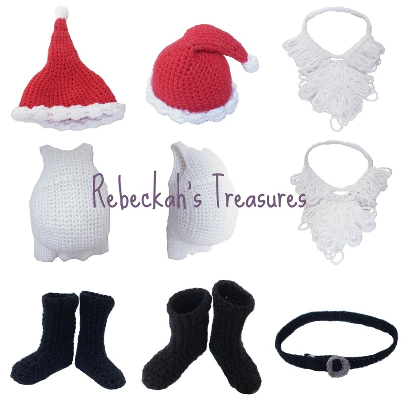 Crochet Santa Ken Claus Accessories by Rebeckah's Treasures