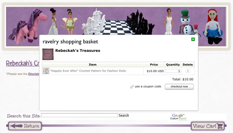 Ravelry Shopping Cart pop-up