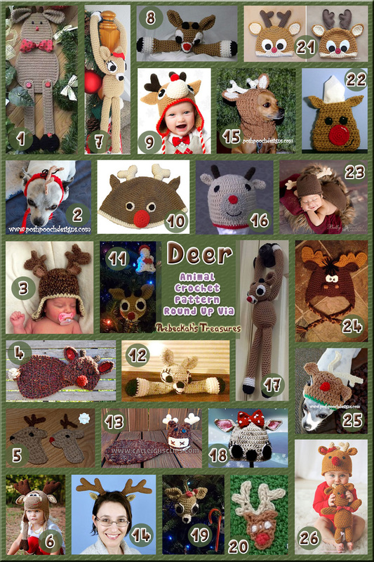 Deer Part 2 (accessories) - Animal Crochet Pattern Round Up via @beckastreasures