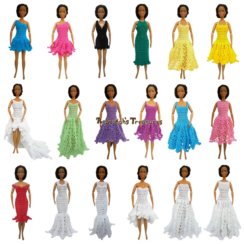 Round Up of 18 Dress Previews for Barbie's New Collection ~ From top-left: 1. Right Asymmetrical Ice Princess Dress, 2. Left Asymmetrical Mini Ball Gown Dress, 3. V-Neck Little Black Dress, 4. Halter Column Dress, 5. Sweetheart Halter Strap A-Line Summer Dress, 6. Halter Strap Ball Gown Summer Dress, 7. Scoop High-Low Dress with Train, 8. Low Scoop Princess Dress, 9. Sweetheart Scoop High-Low Dress, 10. Spaghetti Strap Square A-Line Dress, 11. Square Ball Gown Dress, 12. Jewel High Waist Dress, 13. Sweetheart Capped Sleeves Cocktail Dress, 14. Queen Anne Mermaid Dress, 15. Sweetheart Illusion Fishtail Dress, 16. Sweetheart Flowy High-Low Dress, 17. Straight-Across Beaded A-Line Dress with Train, and 18. Bateau Ball Gown Dress.