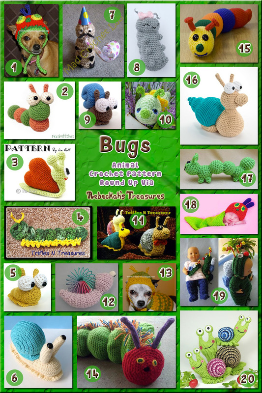 Bugs Part 1 - Animal Crochet Pattern Round Up via @beckastreasures