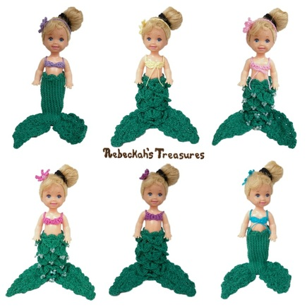 6 Little Crochet Mermaids for Child Fashion Dolls (Kelly Doll by Mattel used as model)