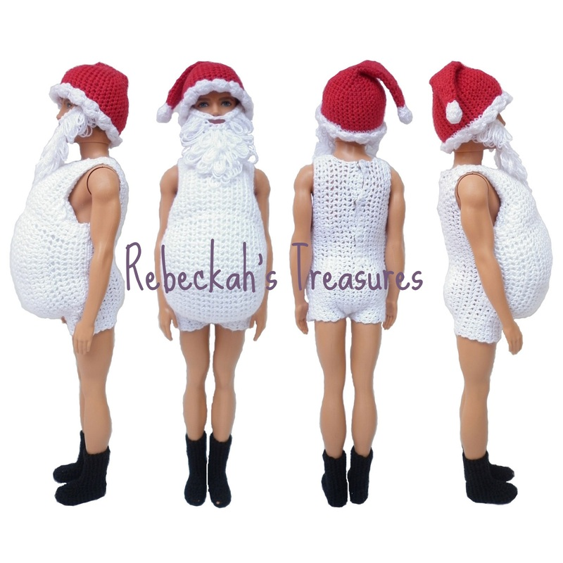 Crochet Santa Ken Claus Body Suit by Rebeckah's Treasures