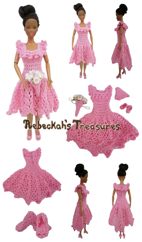 Crochet Barbie Wedding Set for Isabel by Rebeckah's Treasures ~ Barbie's Bridesmaid with Square Neckline
