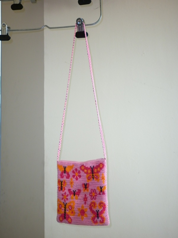 Tapestry Crochet Shoulder Bag Butterflies & Flowers
