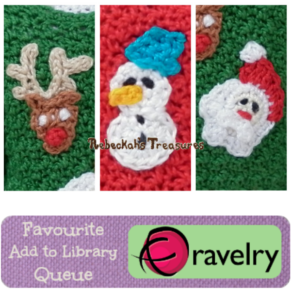 Favourite, Add to Library & Queue Mini Christmas Appliques on Ravelry http://www.ravelry.com/patterns/library/mini-christmas-appliques-from-fashion-doll-family-christmas-sweaters-crochet-pattern