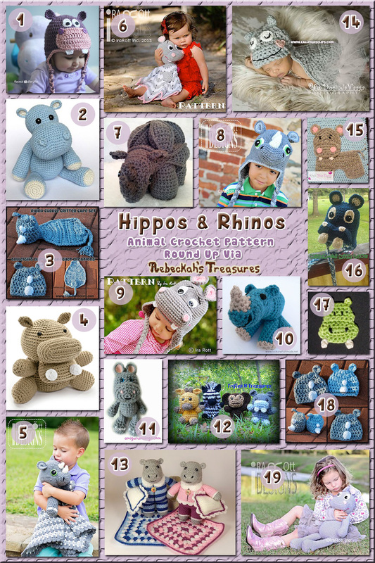 Hippos & Rhinos - Animal Crochet Pattern Round Up via @beckastreasures