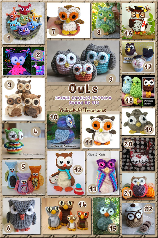Owl Toys - Animal Crochet Pattern Round Up via @beckastreasures