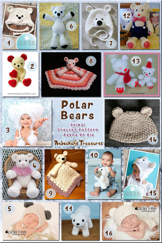 16 Beautiful Polar Bear Toys, Loveys & Hats – via @beckastreasures with @crochetbyjen @LittleMCrochet & @OombawkaDesign | 5 Bear Animal Crochet Pattern Round Ups!