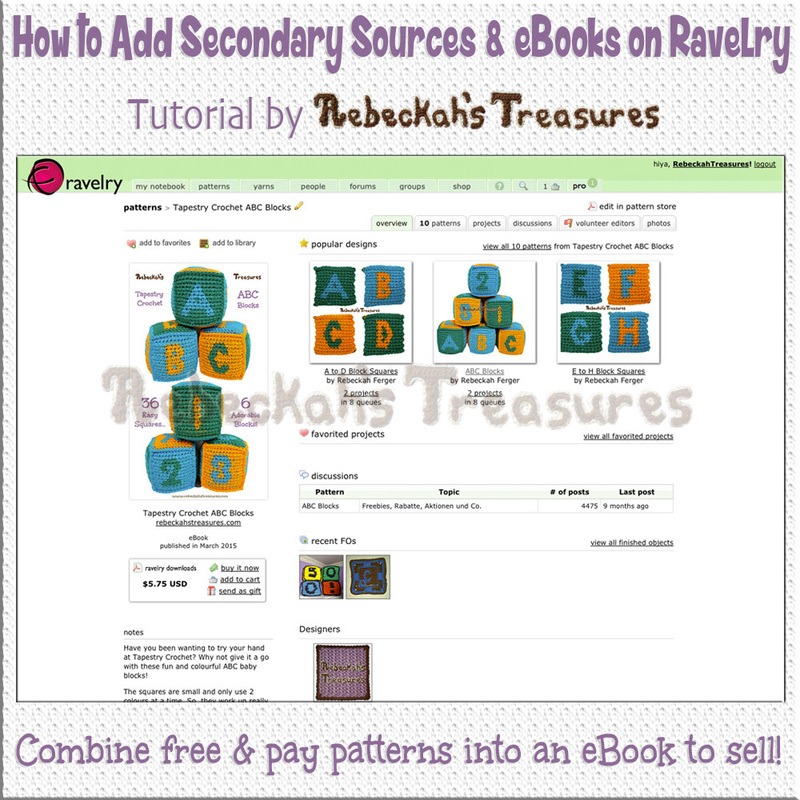 How to Add Secondary Sources to Create eBooks on @Ravelry | Tutorial by @beckastreasures | Combine free &/or pay patterns into an eBook to sell today!