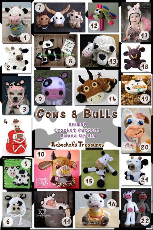 Cows & Bulls - Animal Crochet Pattern Round Up via @beckastreasures