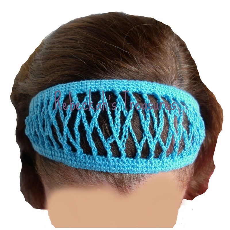 Blue Crochet Headband by Rebeckah's Treasures
