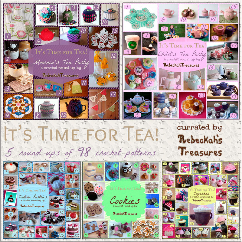 5 Teatime Round Ups by @beckastreasures | 98 patterns from 27 designers including @CCWJoanita, @cutecrochet, @dearestdebi & more!