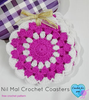 Nil Mal Crochet Coasters by Erangi of Crochet for you - Featured on @beckastreasures Saturday Link Party!