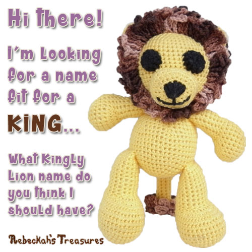 Help name this gorgeous lion for a chance to get a free copy of this pattern when he comes out... via @beckastreasures