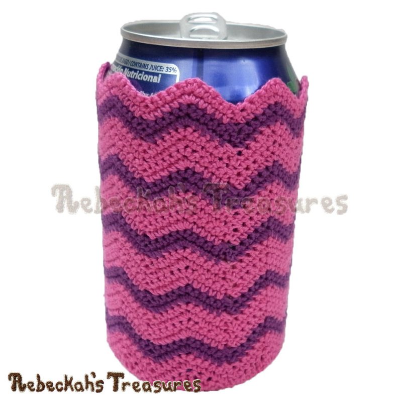 Chevron Soda Can Cozy Free Crochet Pattern Rebeckahs Treasures