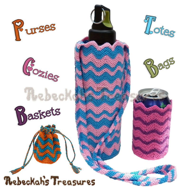 Chevron Accessories Crochet Pattern Collection PDF $3.75 by Rebeckah's Treasures! Grab it here: http://goo.gl/V7VQnA #chevron #crochet #accessory