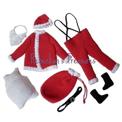 Crochet Santa Ken Claus by Rebeckah's Treasures ~ All the pieces in the set.