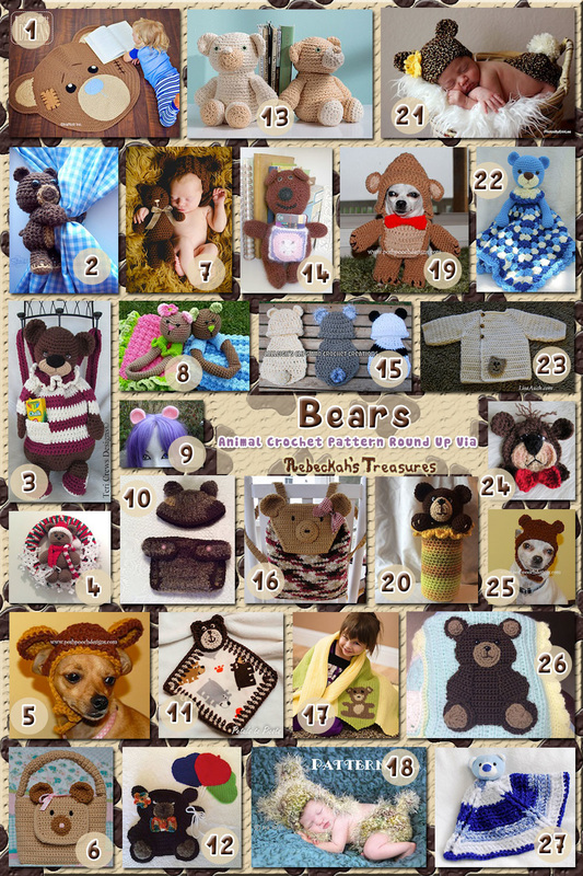 Bears Part 4 - Accessories, Babies & Pets | Animal Crochet Pattern Round Up via @beckastreasures