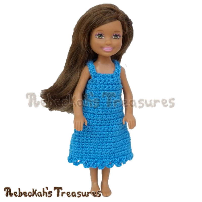Simply BLUEtiful Girl Fashion Doll Dress | FREE crochet pattern via @beckastreasures | A wonderful doll pattern for beginners! #barbie #crochet