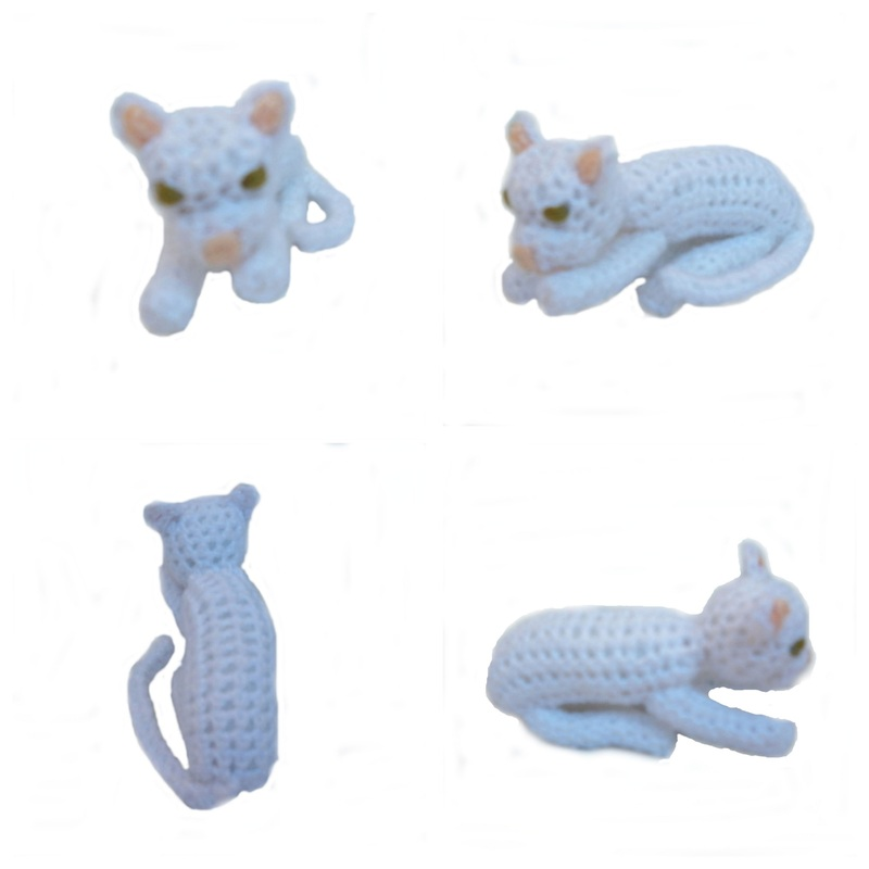 Rebeckah's Treasures: White Crochet Barbie Kitty Lying Down