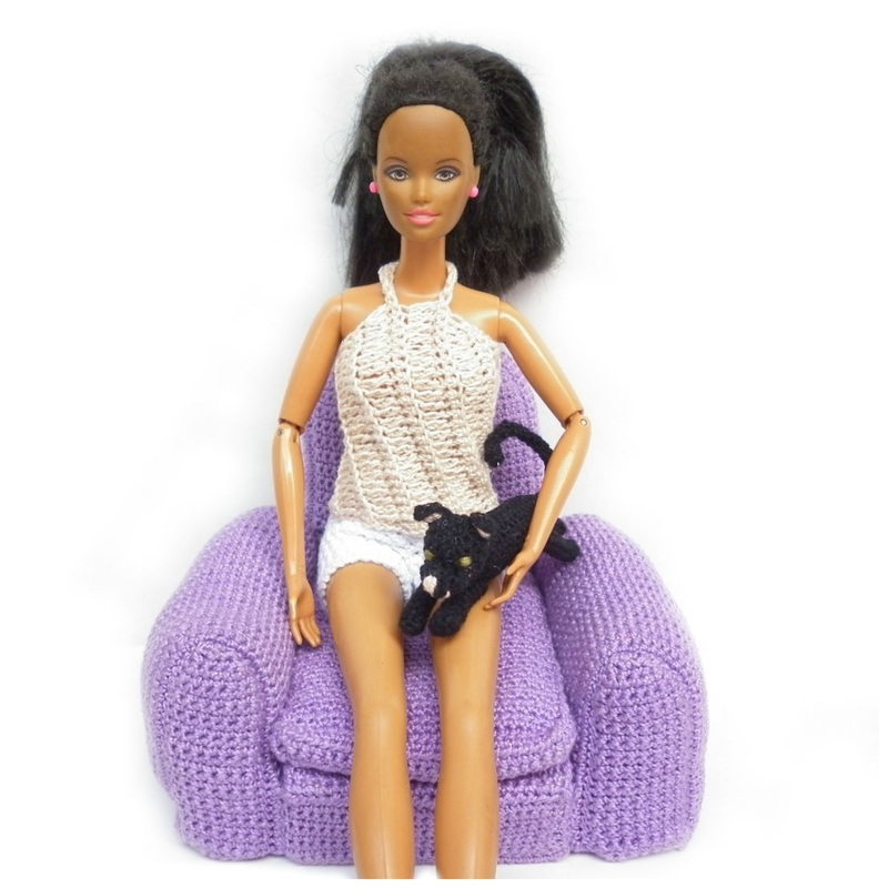 Rebeckah's Treasures': Barbie with Black Crochet Kitty