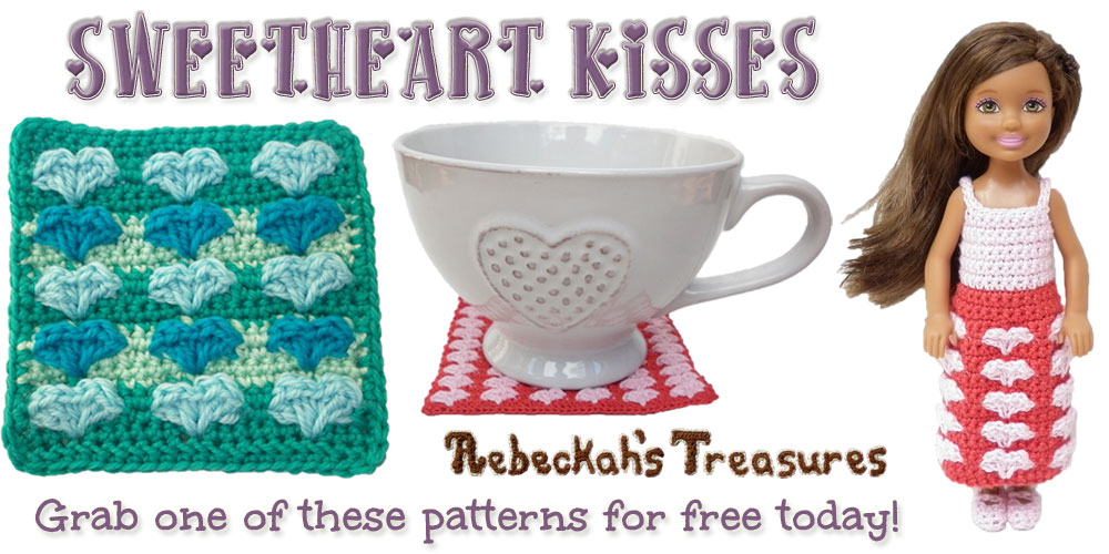 Sweetheart Kisses Valentine's Day Freebie via @beckastreasures| Grab one  Sweetheart Kisses crochet pattern for free today! Offer ends on February 15th, 2016 at 11:59 p.m. EST