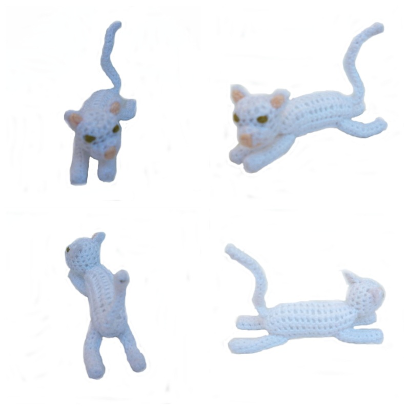 Rebeckah's Treasures: White Crochet Barbie Kitty Stretched Out