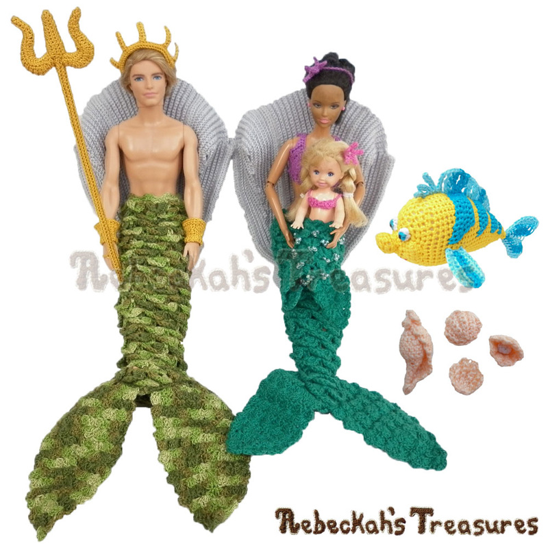 Under the Sea Crochet Patterns by Rebeckah's Treasures! Coming soon... #crochet #pattern #barbie #sea #mermaid #toys #fish #softy #amigurumi