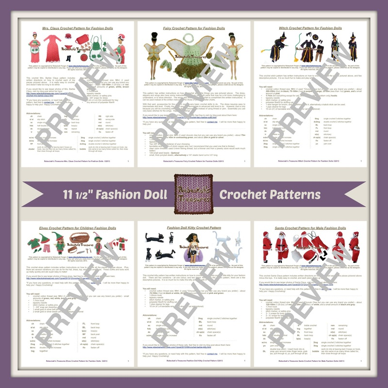 Fashion Doll Crochet Patterns by Rebeckah's Treasures