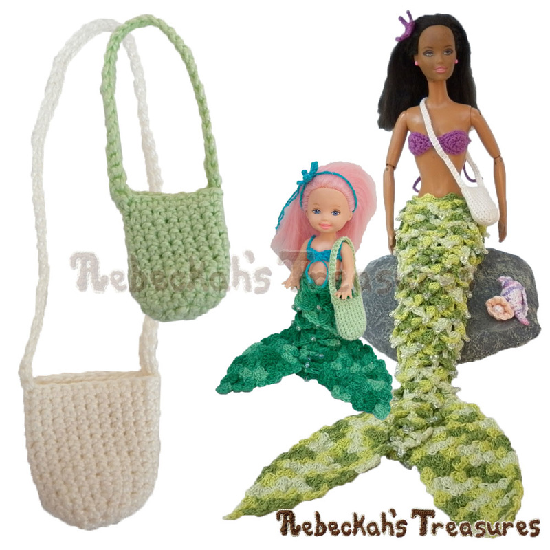 Cross-Body Treasure Bags | FREE crochet patterns via @beckastreasures | Crochet these bags for your mermaid fashion dolls' great treasure-hunting adventures today! #barbie #crochet #bag