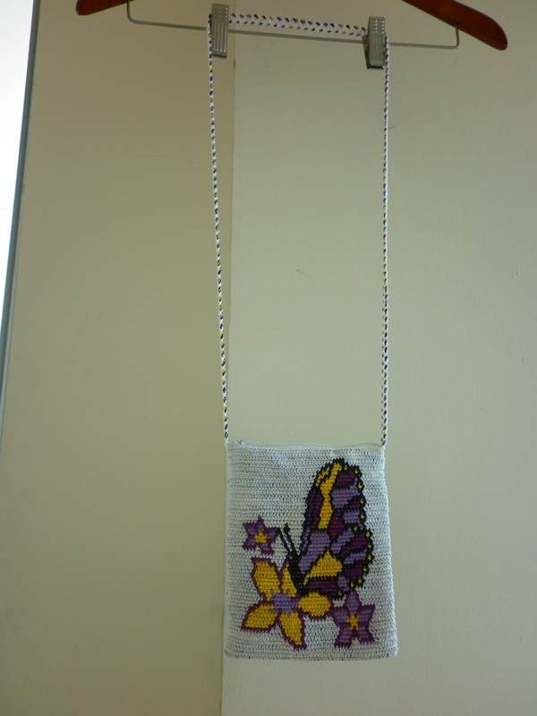 Tapestry Crochet Shoulder Bag Butterfly & Flowers