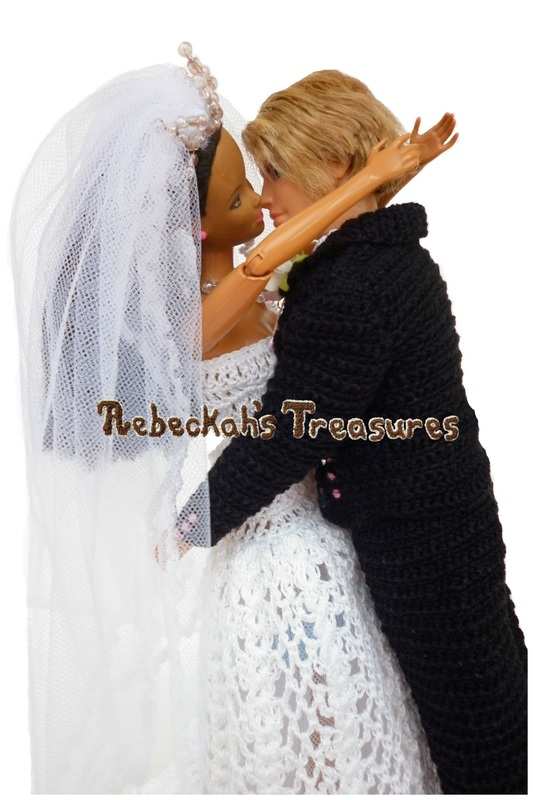Crochet Barbie Wedding Set for Isabel by Rebeckah's Treasures ~ Barbie & Ken Share their First Kiss