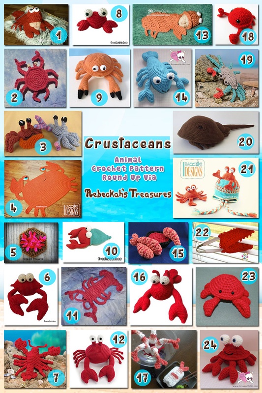 Crustaceans | Animal Crochet Pattern Round Up via @beckastreasures