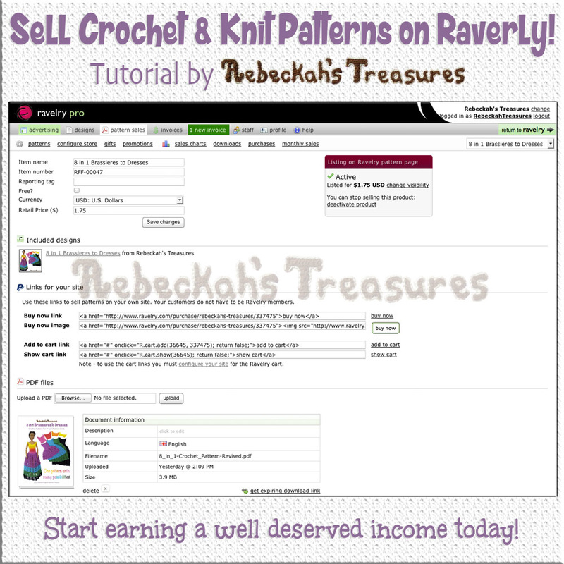 How to Add PDF Patterns to Sell on @Ravelry | Tutorial by @beckastreasures | Start earning a well deserved income today!