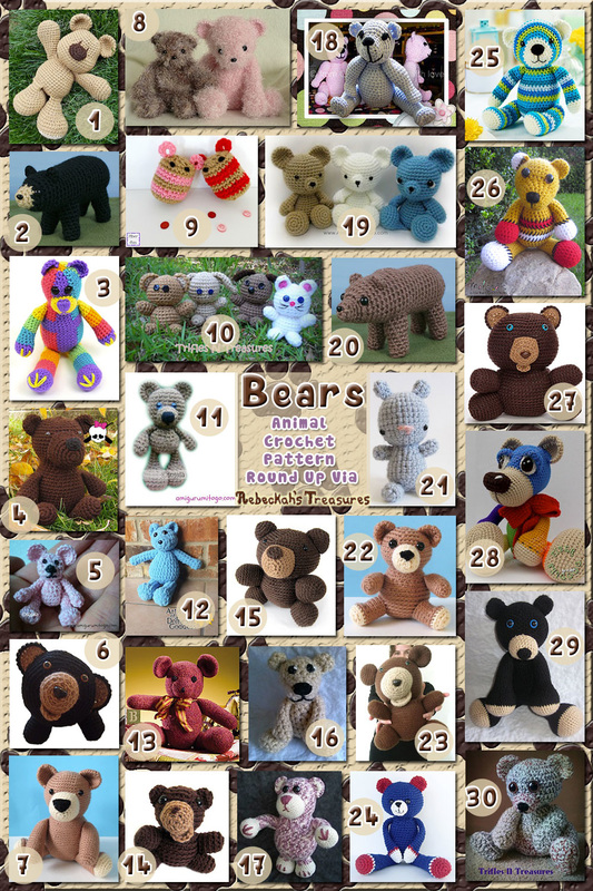 30 Benevolent Bear Toys – via @beckastreasures with @FreshStitches @sharonojala @melissaspattrns & @planetjune | 5 Bear Animal Crochet Pattern Round Ups!