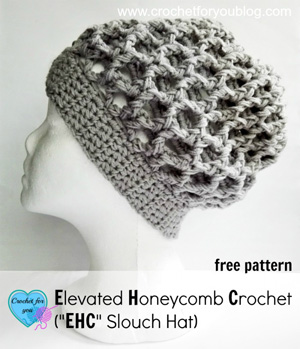 Elevated Honeycomb Crochet Slouch Hat by Erangi of Crochet for you - Featured on @beckastreasures Saturday Link Party!