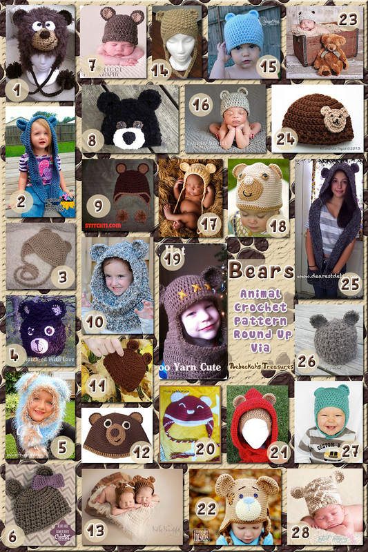 28 Beamingly Beautiful Bear Hats – via @beckastreasures with @JBHCrochet @KTandtheSquid @melodysmakings & @SnappyTots | 5 Bear Animal Crochet Pattern Round Ups!