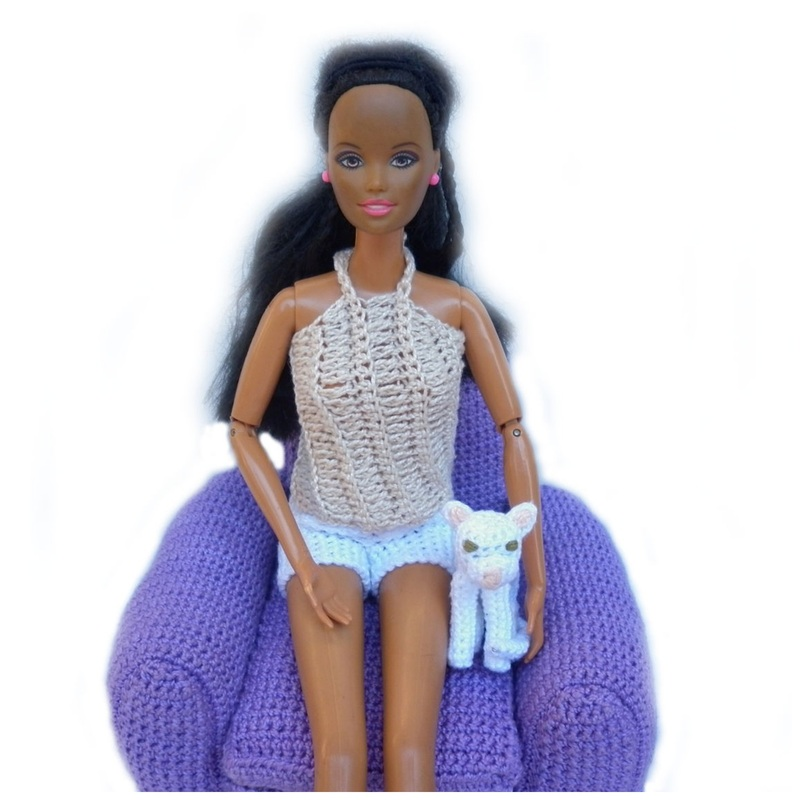 Rebeckah's Treasures': Barbie with White Crochet Kitty