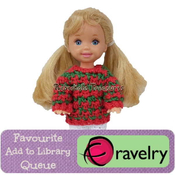 Favourite, Add to Library & Queue Child's Fashion Doll Christmas Sweater on Ravelry http://www.ravelry.com/patterns/library/childs-fashion-doll-christmas-sweaters-crochet-pattern