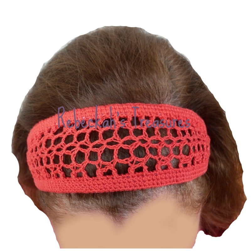 Red Crochet Headband by Rebeckah's Treasures