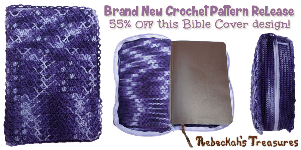 Brand New Crochet Pattern Release via @beckastreasures | Get 55% off Rebeckah's Criss Cross Diamond Bible Cover crochet pattern today! Offer ends on February 18th, 2016 at 11:59 p.m. EST
