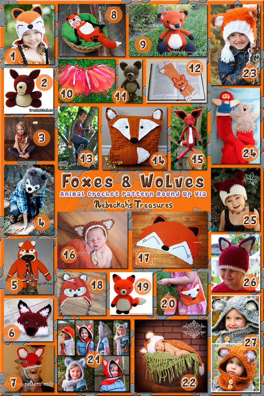 Foxes & Wolves - Animal Crochet Pattern Round Up via @beckastreasures
