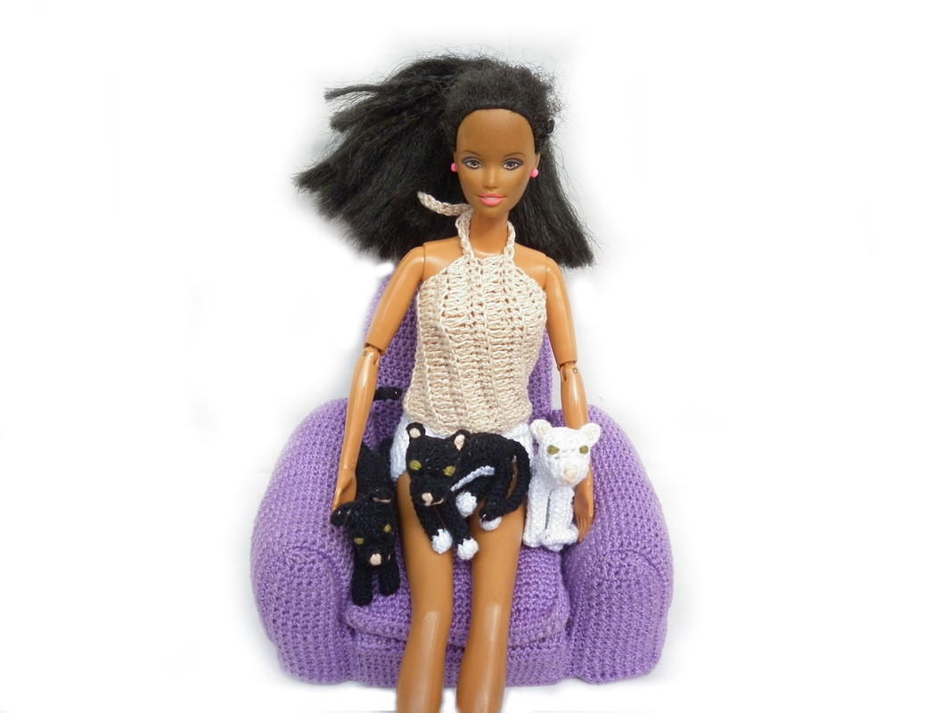 Rebeckah's Treasures: Barbie and her 3 crochet kitty cats.