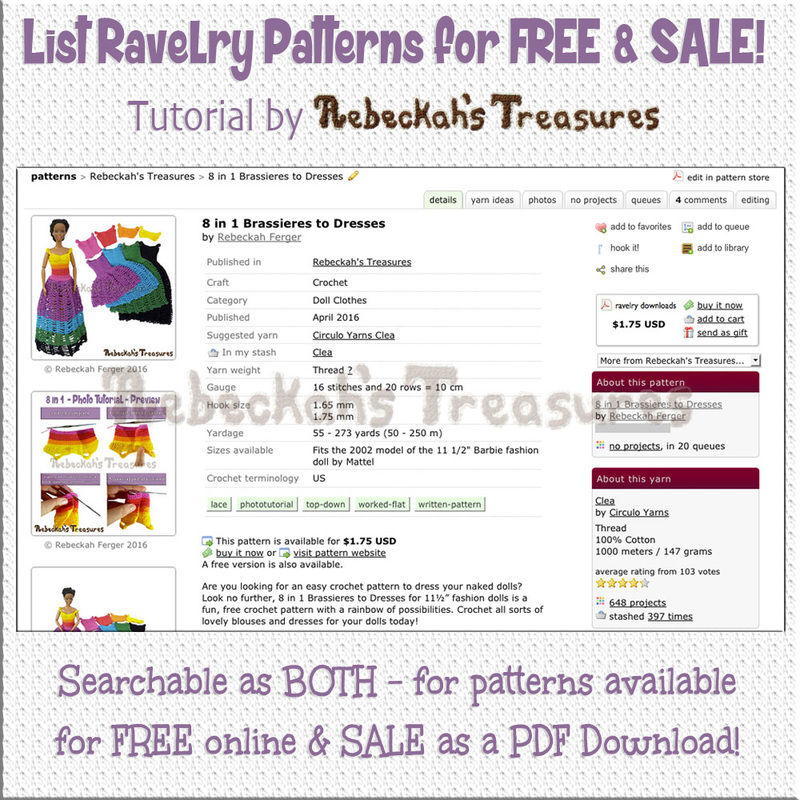 How to List Patterns for Free & Sale on @Ravelry | Tutorial by @beckastreasures | Searchable as BOTH - for patterns available for FREE online & for SALE as a PDF download!