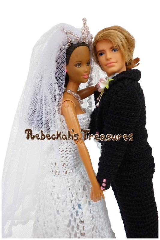 Crochet Barbie Wedding Set for Isabel by Rebeckah's Treasures ~ Barbie & Ken Share Their First Dance