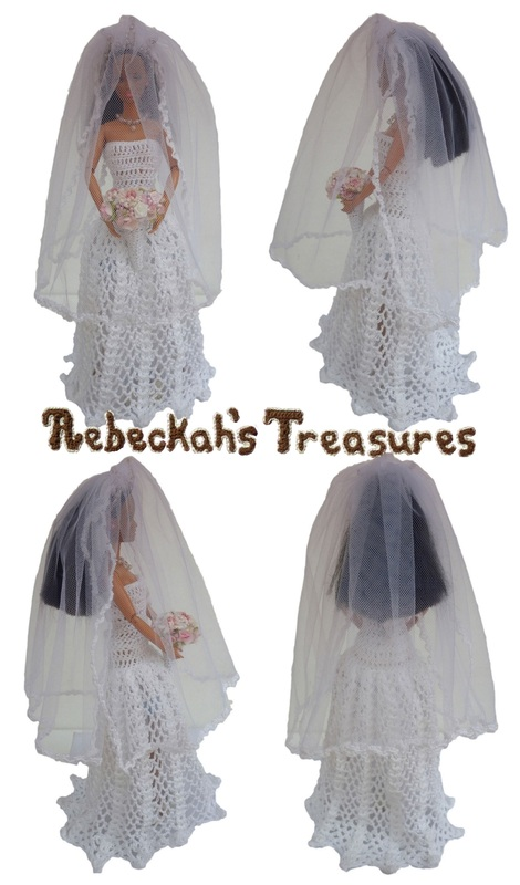 Crochet Barbie Wedding Set for Isabel by Rebeckah's Treasures ~ Barbie Bride with Veil in Front