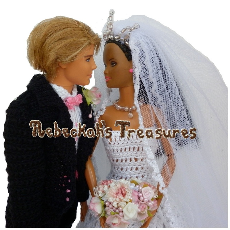 Crochet Barbie Wedding Set for Isabel by Rebeckah's Treasures ~ The Happy Couple in Love