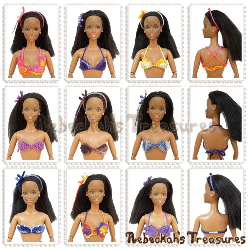 9 Mermaid/Bikini Brassieres Fashion Doll Crochet Pattern PDF $5.75 by Rebeckah's Treasures! Grab it here: http://goo.gl/LRkAw4 #barbie #crochet